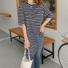 Deep-slit Striped Long T-shirt