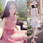 Sleeveless A-line Mini Chiffon Dress