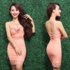 Embellished Lace Prom Dress