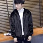 Hooded Furry Zip Jacket
