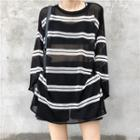 Striped See-through Knit Top