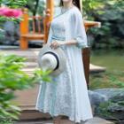 Sleeveless Floral Print A-line Midi Chiffon Dress