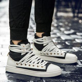 Canvas High-top Lace-up Sneakers