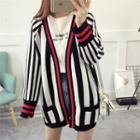 Front Pocket Striped Basic Cardigan