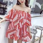 Elbow-sleeve Off Shoulder Patterned Mini Dress