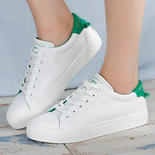 Color Panel Lace Up Sneakers