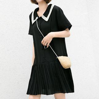 Elbow-sleeve Pleated Paneled Buttoned Dress
