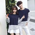 Couple Matching Striped Panel Pullover