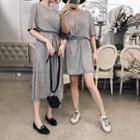 Short-sleeve Knit A-line Dress / Midi Dress