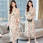 Elbow-sleeve Flower Print A-line Chiffon Dress