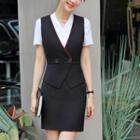 Set: Contrast-trim Button Vest + Mini Pencil Skirt