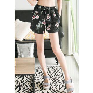 Drawstring-waist Floral Print Shorts