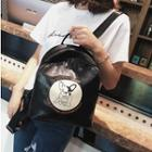 Dog Print Faux-leather Backpack