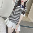 Short-sleeve Ruffle Striped Dress