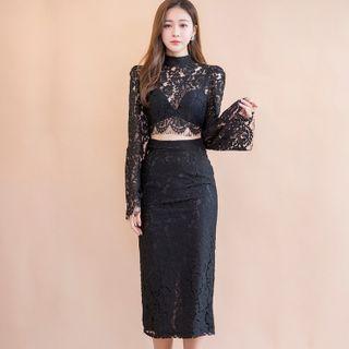Set: Lace Top + Pencil Midi Skirt