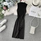 Lace-up Mock-neck Sleeveless Knit Dress Black - One Size