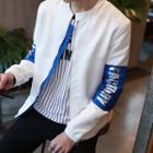 Lettering Sleeve Zip Jacket