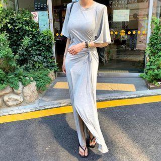 Elbow-sleeve Plain Maxi Dress