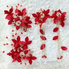 Set: Wedding Flower Hair Clip (2 Pcs) + Flower Clip-on Earring Hair Clip & Clip On Earring - One Size