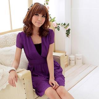 Mock Two-piece Short Sleeve Chiffon Dress
