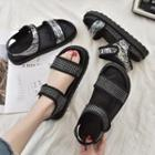 Sequined Adhesive Fastener Sandals
