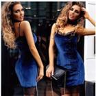 Lace Trim Velvet Strappy Dress
