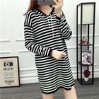 Hooded Striped Dress Black - One Size