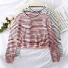 Loose-fit Striped Crop Knit T-shirt