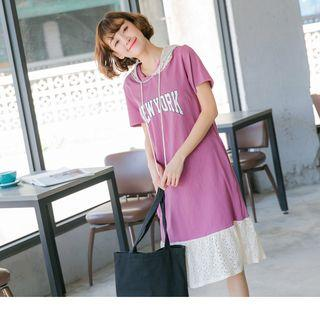 Letter Print Lace Hooded Dress
