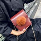 Faux Leather Pompom Shoulder Bag