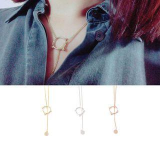 Rhinestone Ring Drop Necklace