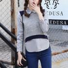 Inset Shirt Cropped Pullover