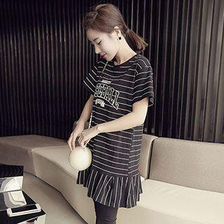 Short-sleeve Striped Ruffled Dress