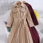Long-sleeve Shirt Pleated Dress