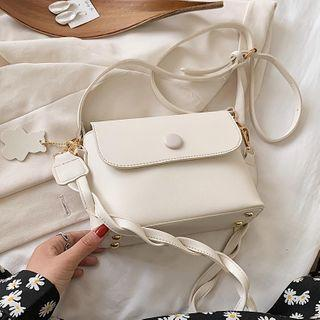 Faux Leather Twisted Strap Crossbody Bag
