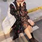 Flower Print Long-sleeve Midi Chiffon Dress