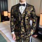 Set: Patterned Single-button Blazer + Single-breasted Vest + Cropped Dress Pants