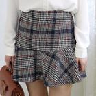 Checked Buttoned Mini A-line Skirt