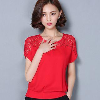 Perforated Short Sleeve Chiffon Top