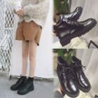 Block-heel Lace-up Ankle Boots
