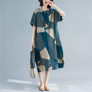 Elbow-sleeve Printed Midi Dress Bluish Green - One Size