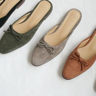 Ribbon Faux-suede Flat Mules