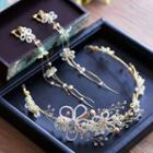 Set: Beaded Flower Bridal Headpiece + Waterfall Earrings