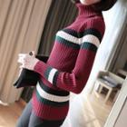Striped Turtleneck Rib Knit Top
