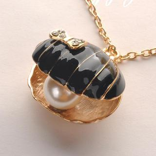 Shell Pearl Necklace - Black Black - One Size