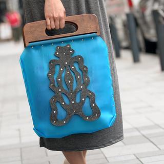 Butterfly Handbag Blue, Dark Gray - One Size