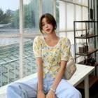 Cropped Floral Eyelet-lace Blouse