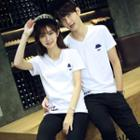 Couple Matching V-neck Printed Short-sleeve T-shirt