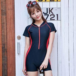 Color Block Short-sleeve Swimsuit