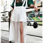 Slit Maxi Suspender Skirt